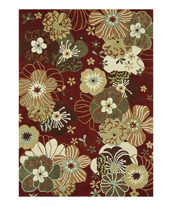 Red & Ivory Floral Bloom Wool Rug