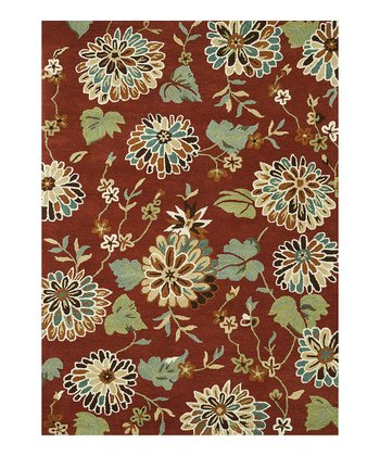 Rust Floral Bloom Wool Rug