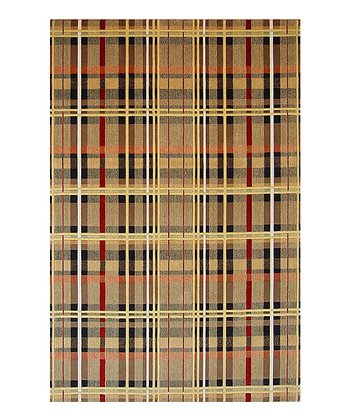 Beige & Red Plaid Tate Wool Rug