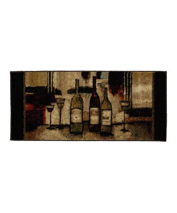 Brown Wine & Glasses Rug