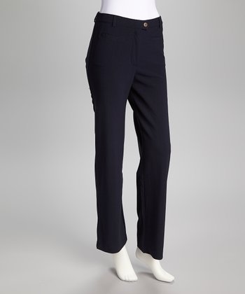 Navy Straight-Leg Control Pants