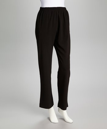Black Elastic-Waist Pants
