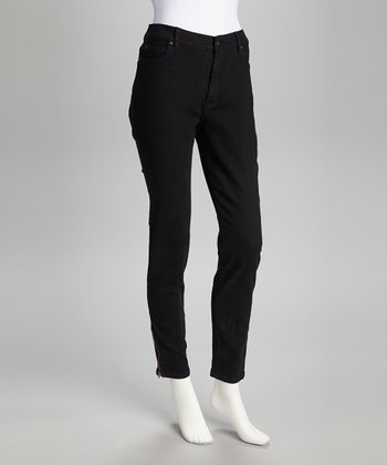 Black Ankle Zip Skinny Jeans