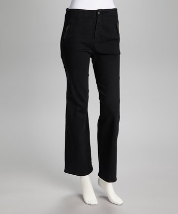 Black Flared High-Rise Jeans
