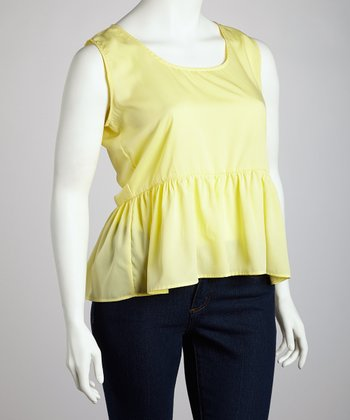 Yellow Sleeveless Peplum Top - Plus