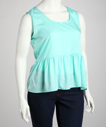 Aqua Sleeveless Peplum Top - Plus