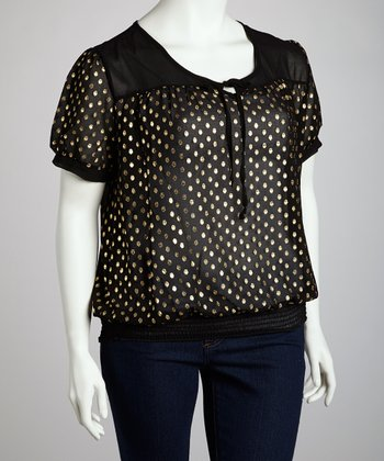Black & Gold Polka Dot Peasant Top - Plus