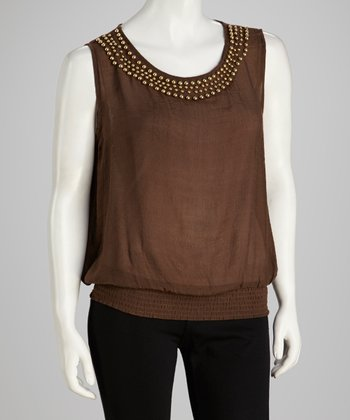 Brown Studded Sleeveless Top