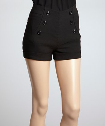 Black Button Front Shorts