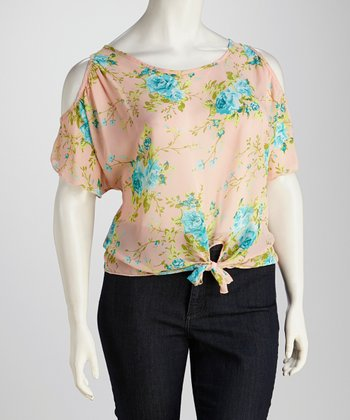 Peach Floral Plus-Size Cutout Top