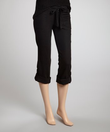 Black Drawstring Linen-Blend Capri Pants