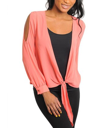 Coral Cutout Tie-Up Top