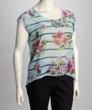 Blue Floral Stripe Short-Sleeve Top - Plus