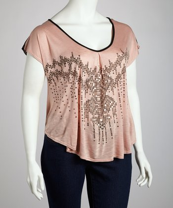 Dusty Pink & Black Sequin V-Neck Top - Plus