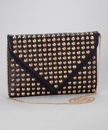 Black & Gold Pyramid Stud Shoulder Bag
