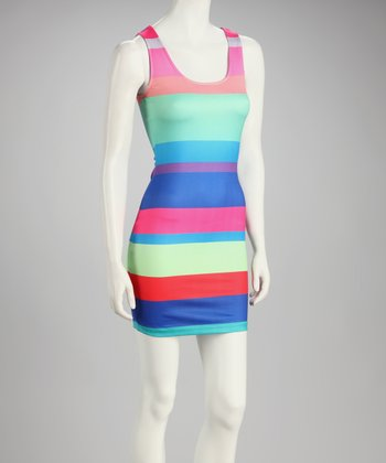 Pink & Royal Blue Stripe Sleeveless Dress