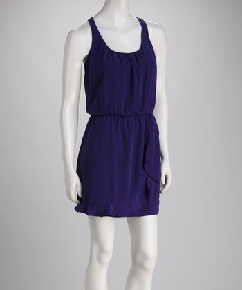 Purple Lace Back Sleeveless Dress