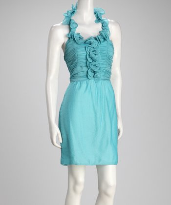 Blue Ruched Halter Dress