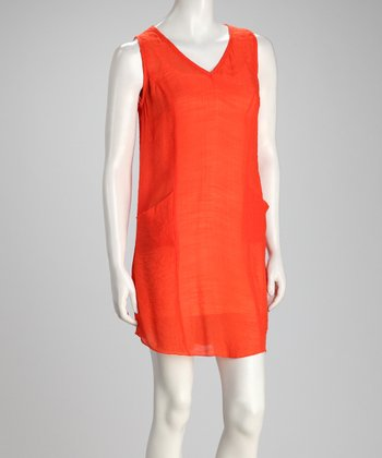 Orange Pocket Sleeveless Dress