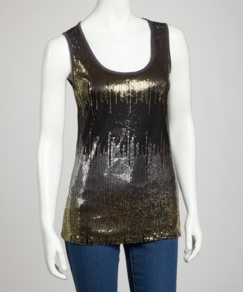 Charcoal Sequin Tank Top