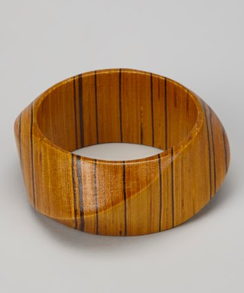 Brown Stripe Wood Bangle