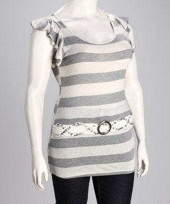 Gray Stripe Belted Angel-Sleeve Top - Plus