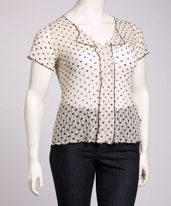 Ivory Sheer Polka Dot Ruffle Top - Plus