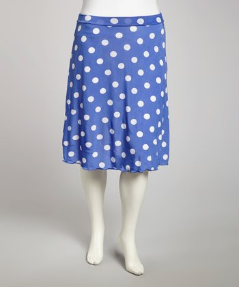 Blue Polka Dot Skirt - Plus