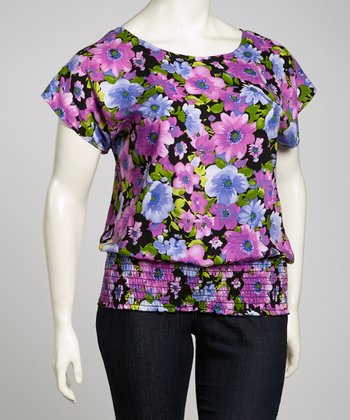 Purple & Green Floral Shirred Top - Plus
