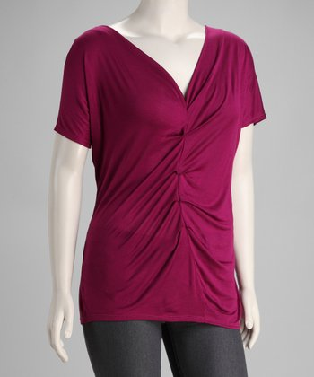 Magenta Ruched Plus-Size Top