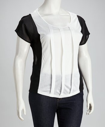 White & Black Color Block Plus-Size Tunic