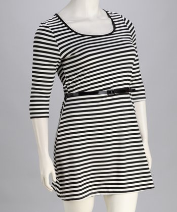 Black & White Stripe Belted Plus-Size Dress