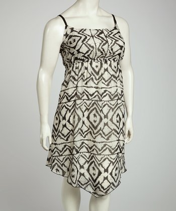 Black Geometric Dress - Plus
