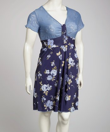 Blue Floral Dress - Plus
