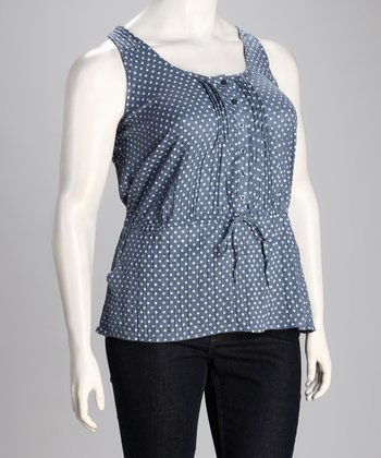 Blue Button-Up Sleeveless Top - Plus