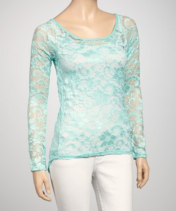 Aqua Sheer Lace Long-Sleeve Top
