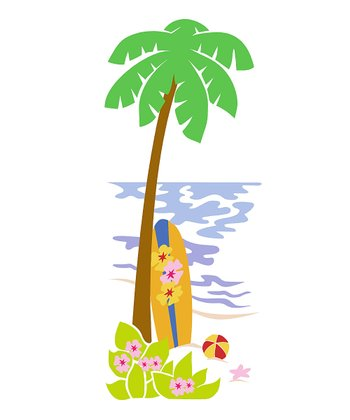 Palm Tree & Surfboard Paint-by-Number Wall Mural Kit