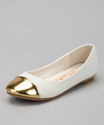 White Metallic Toe Cap Flat
