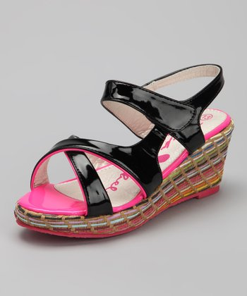 Black Patent Wedge Sandal