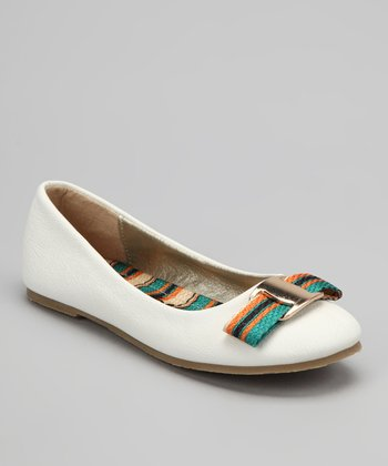White Stripe Bow Flat