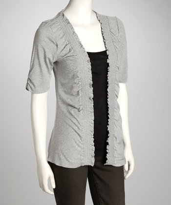 Heather Gray Layered Open Cardigan