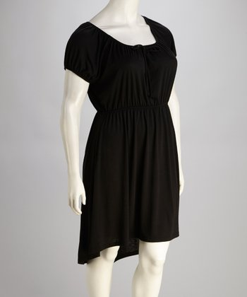 Black Plus-Size Hi-Lo Dress