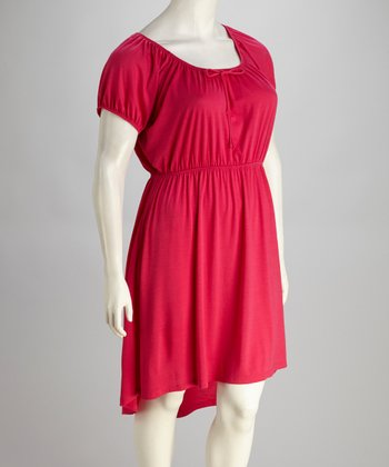 Fuchsia Plus-Size Hi-Lo Dress