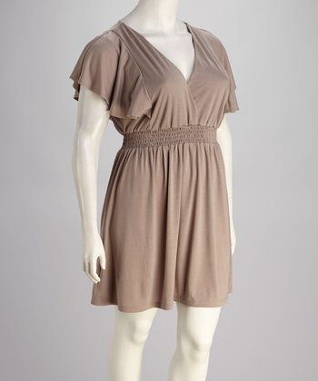Mocha Plus-Size Surplice Dress