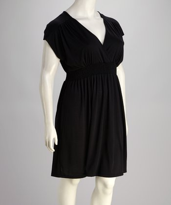Black Plus-Size Short-Sleeve Dolman Dress