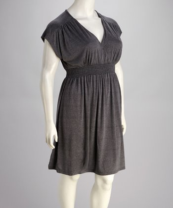 Charcoal Plus-Size Short-Sleeve Dolman Dress