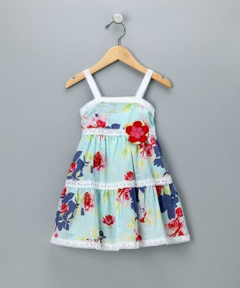 Baby Nay Blue Summer Rose Lace Trimmed Dress - Infant & Girls