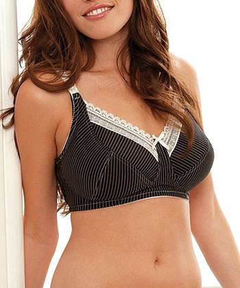 Black & Cream Stripe Lauren Full-Fit Nursing Bra - Women & Plus