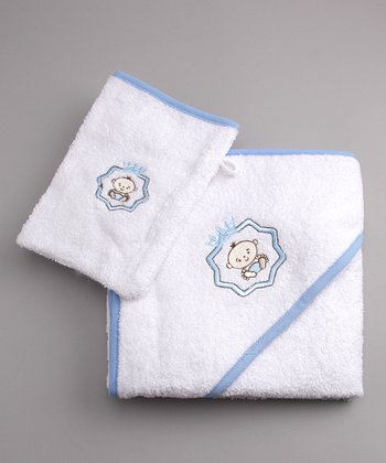 Blue Hooded Towel & Mitt