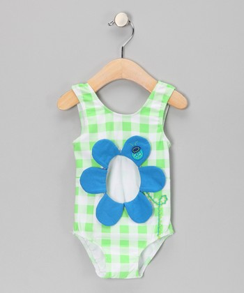 Lime Plaid Flower Sunsuit - Infant, Toddler & Girls